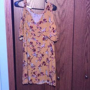 no shoulder floral dress